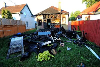 A fire at the rear of a house on Pritchard Avenue was one of several that were lit over a one-hour period early Thursday.