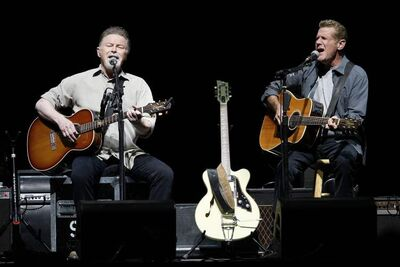 photos by John Woods / Winnipeg Free Press  The Eagles offered a peaceful, easy trip down memory lane at the MTS Centre Monday night. Don Henley (left) and Glenn Frey.