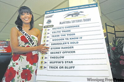 Assiniboia Downs' Chelsea Obsniuk shows the post positions drawn for Monday's running of the 2009 Manitoba Lotteries Derby.