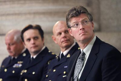 "From right: Andrew Swan, minister of justice and attorney general; Chief Superintendent Scott Kolody, acting commanding officer, RCMP ""D"" Divison; Inspector Gord Perrier, Winnipeg Police Service; and  Chief Keith Atkinson, Brandon Police Service at the  Amber Alert Facebook announcement in the Manitoba Legislative Building Thursday."