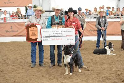 Kaelene Forsyth (right) and Gypsy accept their prizes at the Calgary Stampede.