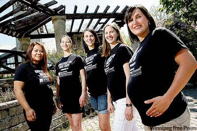 The five ran the marathon relay while pregnant in 2009.