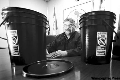 St. Theresa Point First Nation Chief David McDougall is disappointed by INAC's offering of slop pails to serve as toilets.