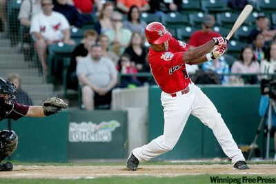 John Woods / Winnipeg Free PressGoldeyes Price Kendall whiffs at a pitch during Saturday�s loss to the T-Bones at Shaw Park.