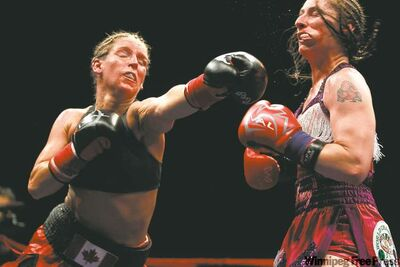 Winnipeg's Olivia Gerula (left) lands a left in a fight against Brooke Millbrook in this 2010 file photo. Gerula will be throwing haymakers in Sweden come September.