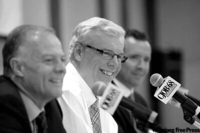 Liberal Leader Jon Gerrard (left), NDP Leader Premier Greg Selinger (centre) and Conservative Leader Hugh McFadyen debate.