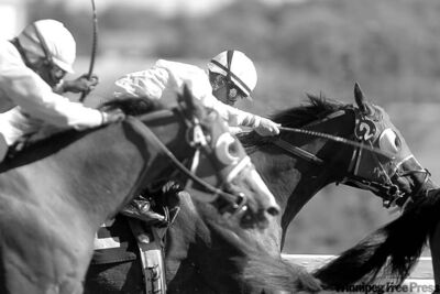 Jockey David Lopez rides Rileys Sprinten, just ahead of Christopher Husbands on Dangeronthemirror in the fourth race at Assiniboia Downs. Lopez was the Downs� top jockey for 2011.