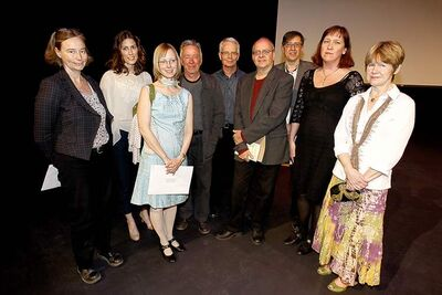Manitoba Book Awards winners (from left) Esme Claire Keith, Colleen Nelson, Jennifer Still, J.R. Leveille, Larry  Verstraete, Bernard Leveille, Allan Levine, Sue Sorensen and Allison Preston.