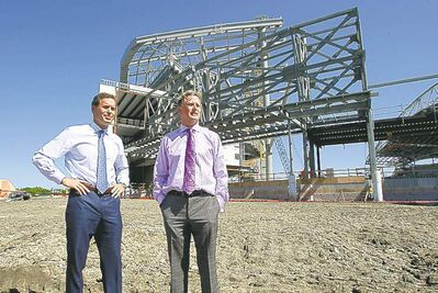 CFL commissioner Mark Cohon (left) and Bombers president and CEO Garth Buchko at the site.