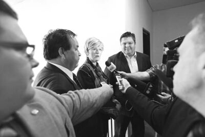 Frank Turner, Community Business Development manager with the Tribal Council Investment Group, Brandon Mayor Shari Decter Hirst and Allan McLeod, managing director and CEO of the TCIG,  speak to reporters regarding a partnership between the City of Brandon and the investment group.