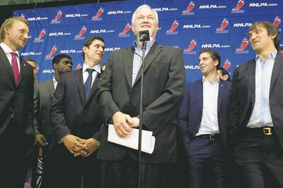 Chris Young / the canadian press NHLPA executive director Donald Fehr stands with (from left) Steven Stamkos of the Tampa Bay Lightning, Montreal Canadiens' P.K Subban, Pittsburgh Penguins� Sidney Crosby, New York Islanders� John Tavares and Alex Ovechkin of the Washington Capitals as they face the media in Toronto on Tuesday.
