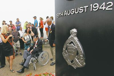 Michel Spingler / The Associated PressArthur Rossell, 92, attends a ceremony Sunday to honour Allied soldiers killed 70 years ago in Dieppe, France.