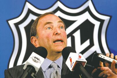 NHL commissioner Gary Bettman addresses the media after meeting with NHLPA representatives at league headquarters in New York Wednesday.