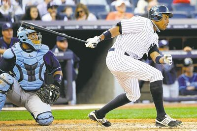 Tampa Bay Rays catcher Jose Molina watches as New York Yankee Curtis Granderson clubs a two-run tater on Saturday.