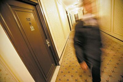 John Woods / Winnipeg Free Press The Free Press had no trouble getting a photo outside �haunted� Room 202 at the Fort Garry Hotel.