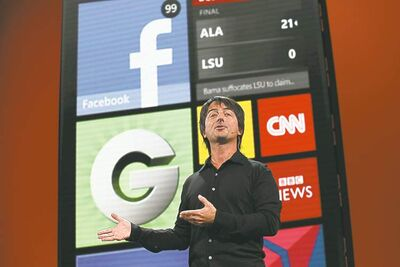 Joe Belfiore, corporate vice-president of Microsoft, introduces  the new Windows Phone 8 in San Francisco on Monday.
