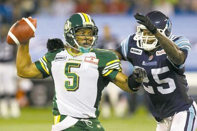 Kerry Joseph will start at quarterback for Edmonton when the Esks take on the Argos in Toronto on Sunday.