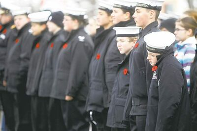 Above: Young cadets wait to march in the  Remembrance Day parade.