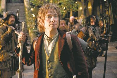 "James Nesbitt as Bofur, Martin Freeman, front, as Bilbo Baggins, Stephen Hunter as Bombur, Graham McTavish as Dwalin, William Kircher as Bifur, and Jed Brophy as Nori in the fantasy adventure ""The Hobbit: An Unexpected Journey,"" a production of New Line Cinema and Metro-Goldwyn-Mayer Pictures (MGM), released by Warner Bros. Pictures and MGM. (MCT)"