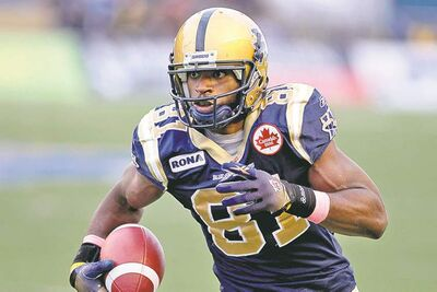 MIKE DEAL / WINNIPEG FREE PRESS archives Cory Watson missed a large chunk of the 2012 season due to hamstring and ACL injuries.