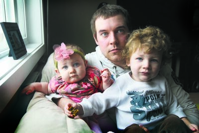 Landon Hay, with his children Cheyenne (left) and Wyatt, says MPI is ignoring the contribution his partner Samantha Schlichting (below) made as a stay-at-home mom.