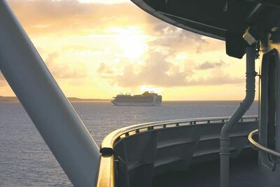A cruise ship is seen from the deck of the Caribbean Princess on its approach to Bridgetown, Barbados.