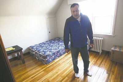 Sinclair's rented farmhouse has mouse traps on the floor, plastic insulation on the windows and barely any furniture. 'A rich man wouldn't live like this,' Sinclair says.