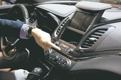 GM/s MyLink connection and entertainment system in a new Chevy Impala.