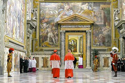 Cardinals Giovanni Lajolo (left) and Tarcisio Bertone enter Sistine Chapel.