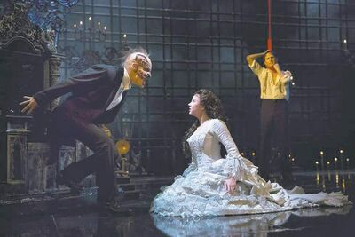 Joan Marcus photoHugh Panaro as The Phantom, Samantha Hill as Christine and Kyle Barisich as Raoul at the Majestic Theatre.