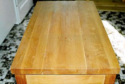 Cherry face-grain butcher-block countertop on a moveable island.