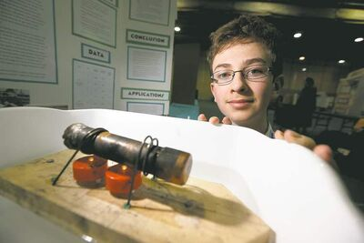Grayson Lewer, 14, a grade 8 student from The Laureate Academy,  Steam Boats.
