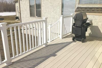 Vinyl deck boards manufactured by Royal Building Products.