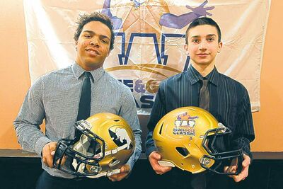 Alex Taylor (left) and Colby Kyliuk hope playing in Blue and Gold Classic games on Saturday will help them reach their football dreams.