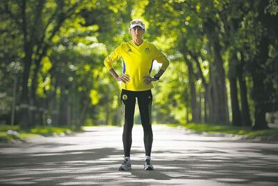 "Melanie Sifton on a training run in Winnipeg: 'There was a moment of time I thought,""I don't want to do this again. It's not worth it.""  But now, I run in honour of those who were hurt and killed.'"