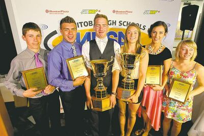 Here's the Manitoba High Schools Athletics Association's athletes of the year (from left): Cole Waddell of Hamiota Collegiate, Nolan Parrington of Dakota Collegiate, Theo Farough of Neelin High School in Brandon, Olivia Thorleifson of Nellie McClung Collegiate in Manitou, Laura McManes of Glenlawn Collegiate and Lauren Wiebe of Morris School.