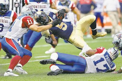 Job 1 for the Bombers Thursday will be keeping this from happening much to running back Chad Simpson (5).