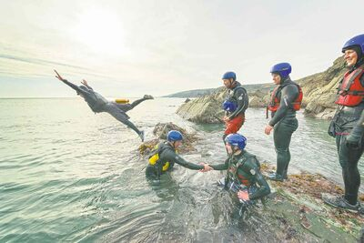 Visit WalesCoasteering is the inter-disciplinary adventure sport invented in Wales that combines swimming, rock climbing and cliff jumping.
