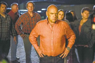 "Dean Norris as James ""Big Jim"" Rennie, a town leader on the series Under the Dome."