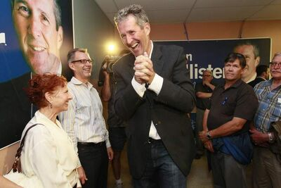 Brian Pallister greets supporters after winning byelection in Fort Whyte Tuesday.