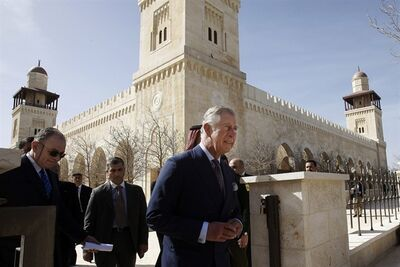 Britain's Prince Charles visits the King Hussein Mosque in Amman, Jordan, Tuesday, March 12, 2013. Prince Charles is on a three-day visit to Jordan. (AP Photo/ Ali Jarekji, Pool)