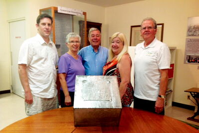 From left to right, the co-chairs of the Transcona Centennial Time Capsule Committee, Brian Hodgert, Donna Wyatt, and Ken Butchart are shown with the vice-chairs of the Transcona Centennial Steering Committee Barb Culbertson and Peter Martin. The time capsule was recently sealed, and will be buried in September.   Missing: Murray Rougeau