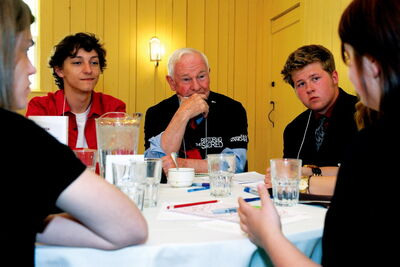 Murdoch MacKay Grade 12 student Taylor Daigneault (left) is shown with Governor General David Johnston during a roundtable discussion on June 5.