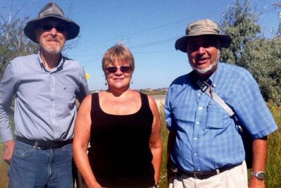 Emil Kowalski, Karen Janzen, and Dave Nichols are shown in Rotary Tall Grass Prairie Nature Park on Aug. 21. They are part of a group that traverses various sections of the Transcona Trail each Wednesday.