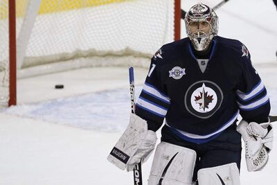 Jets goaltender Ondrej Pavelec stopped 50 Philadelphia shots on Tuesday.
