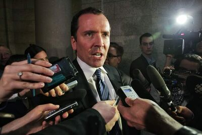 Leader of the opposition, Hugh McFadyen, talks to the media after the NDP government tables its 2012 budget on Tuesday.