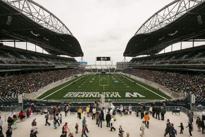 Investors Group Field welcomes thousands Sunday afternoon, as attendees flow in for the One Heart celebration, the first event held at the new stadium.