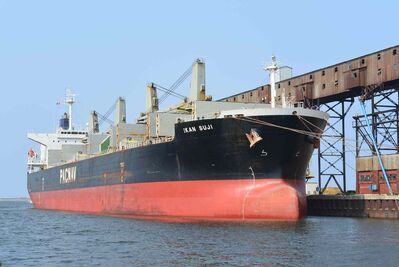 The M.V. Ikan Suji begins loading 35,200 tonnes of western red spring wheat from Manitoba and Saskatchewan destined for Mexico.