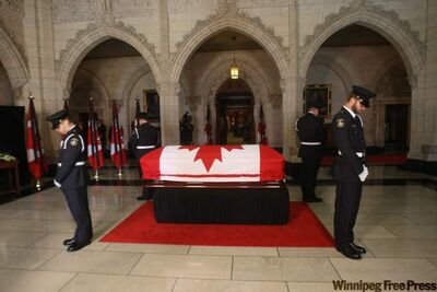 The body of NDP Leader Jack Layton lies in state in Centre Block on Parliament Hill in Ottawa.