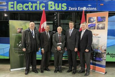 From left: Winnipeg city councillor Russ Wyatt;; Sailesh Thaker, vice-president, Industry and Stakeholder Relations, Sustainable Development Technology Canada; Dave Chomiak, Manitoba minister of Innovation, Energy and Mines; Lawrence Toet, MP for Elmwood Transcona; and Paul Soubry, CEO, New Flyer Industries at the federal funding announcement for the building of electric buses at New Flyer Industries in the head office in Winnipeg, Friday.
